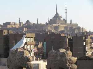 Vanaf het dak krijgen we een panoramisch uit zicht op dit oude stadsdeel met de Citadel, die beeldbepalend op een hoogte boven de stad uittorent.