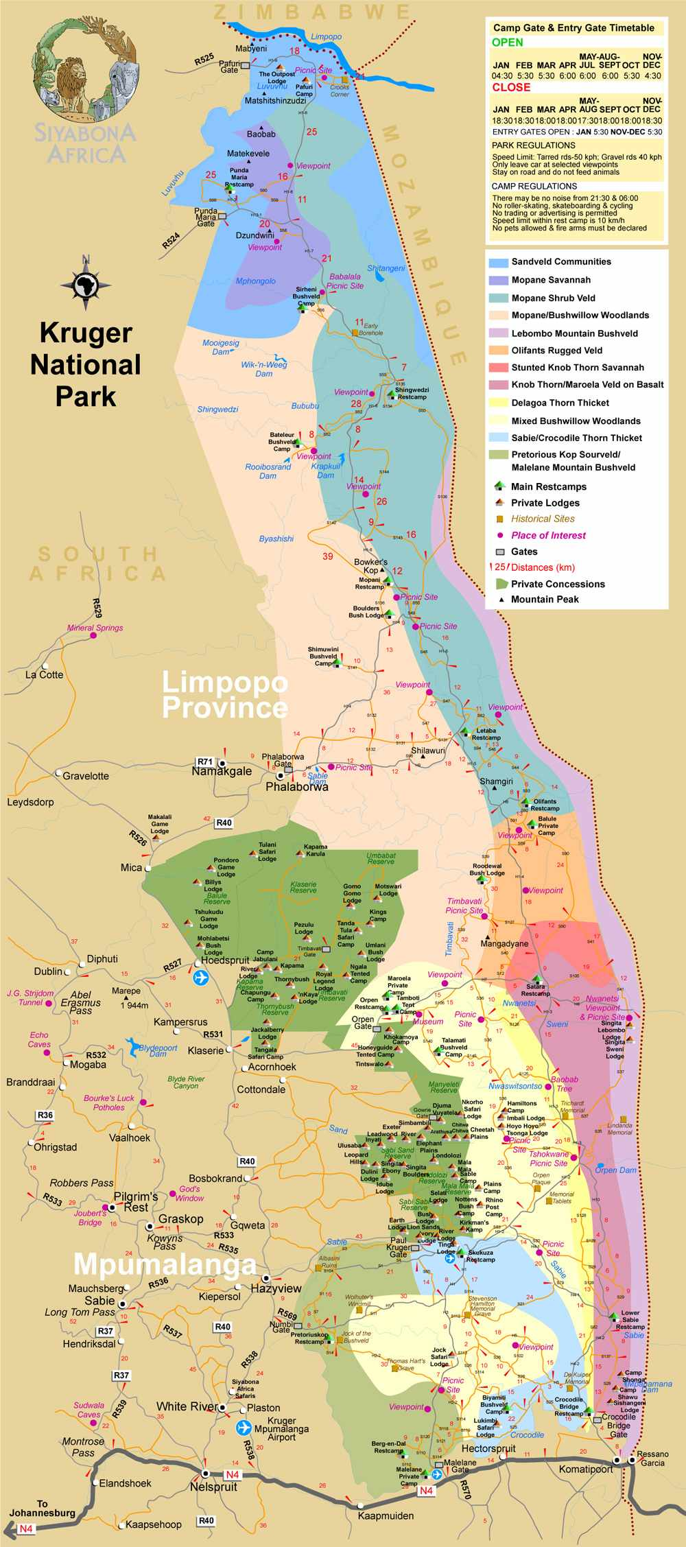 Krugerpark kaart